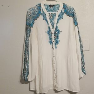 Turquoise and white Tunic